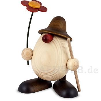 Eierkopf Rudi mit Blume und Stock braun