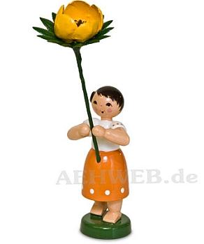 Frühlingsblumenmädchen mit Winterling