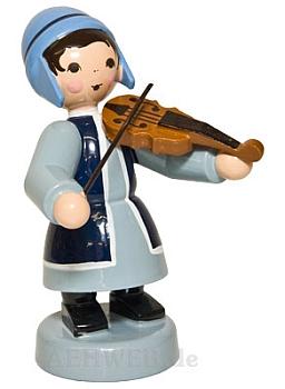 Wintermusikerin mit Geige blau