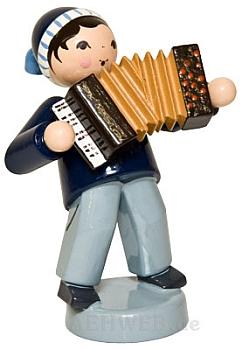 Wintermusiker mit Akkordeon blau
