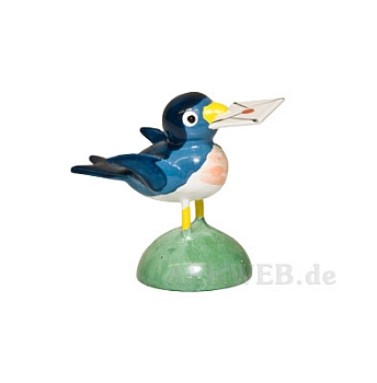 Vogel mit Brief blau