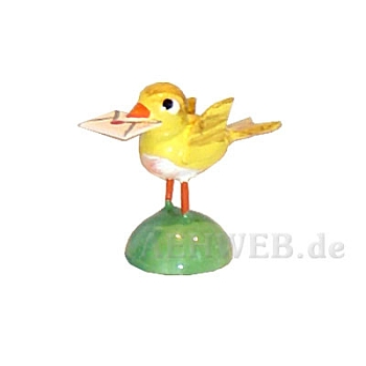 Vogel mit Brief gelb
