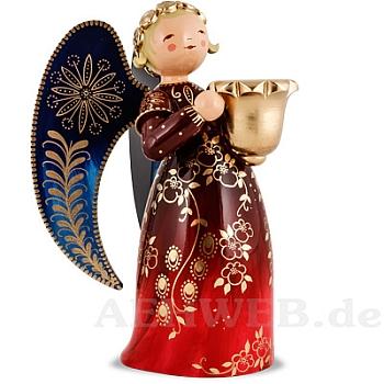 Engel reich bemalt groß mit Lichtnapf rot rechts schauend