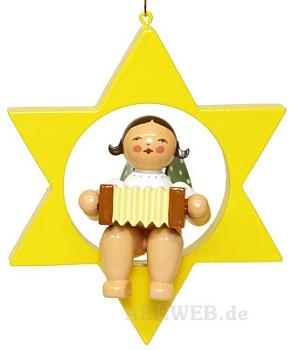 Engel mit Zieharmonika im Stern