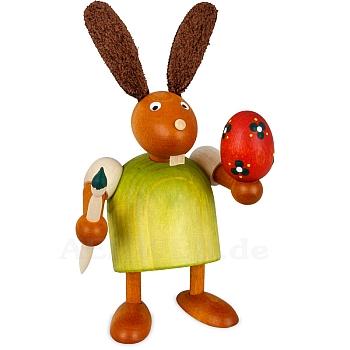 Hase mit Pinsel und Ei grün klein