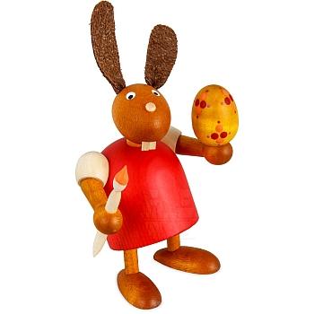 Hase mit Pinsel und Ei rot klein