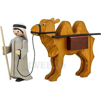 Kameltreiber und Kamel mit Paketen 22 cm gebeizt