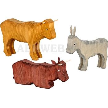 2 Ochsen und 1 Esel 22 cm gebeizt