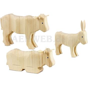2 Ochsen und 1 Esel 22 cm natur