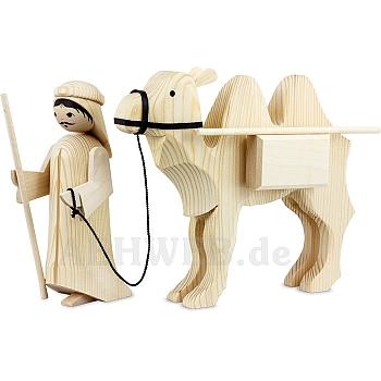 Kameltreiber und Kamel mit Paketen 22 cm natur