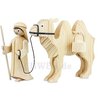 Kameltreiber und Kamel mit Eimern 22 cm natur