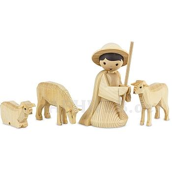 Hirte knieend mit 3 Schafen 22 cm natur