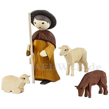 Hirte mit 3 Schafen 13 cm gebeizt