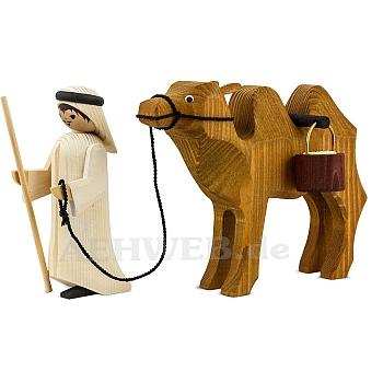 Kameltreiber und Kamel mit Eimern 13 cm gebeizt