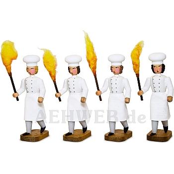 Vier Bäckergesellen mit Fackel