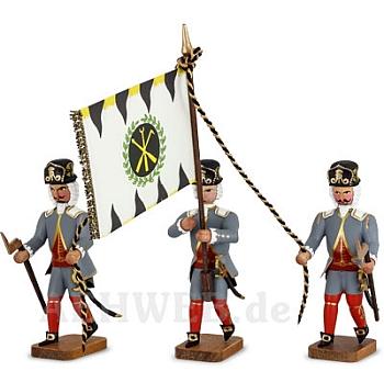 Hüttenbeamte mit Fahne