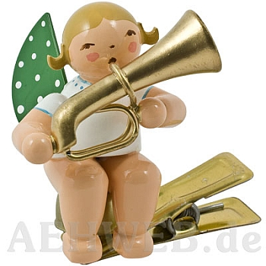Engel mit Basstrompete auf Klemme