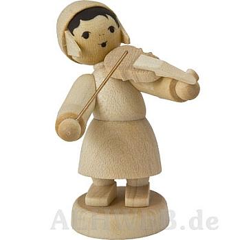 Wintermusikerin mit Geige naturbelassen