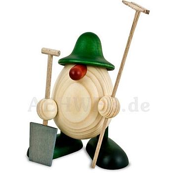 Eierkopf Benno als Gärtner grün lasiert