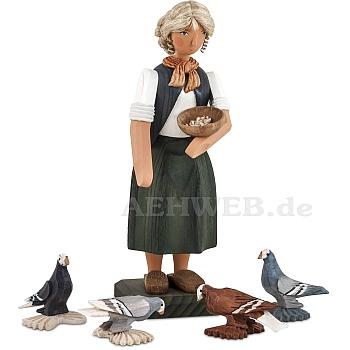 Bäuerin mit Tauben große Ausführung