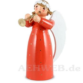 Engel mit Trompete rot