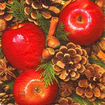 Serviette - Äpfel und Nüsse