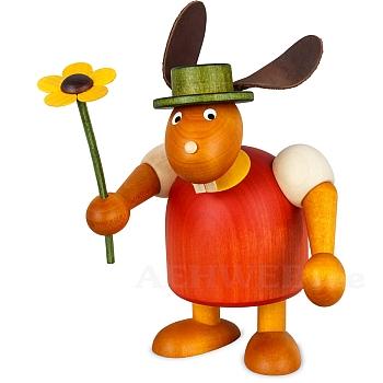 Hase mit Hut und Blume rot, groß