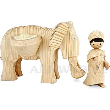 Elefantentreiber mit großem Elefant 13 cm naturbelassen