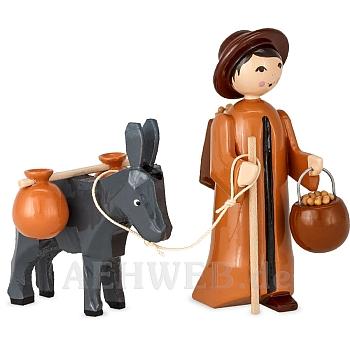 Eselkarawane Treiber mit Esel und Hucke 7 cm lackiert