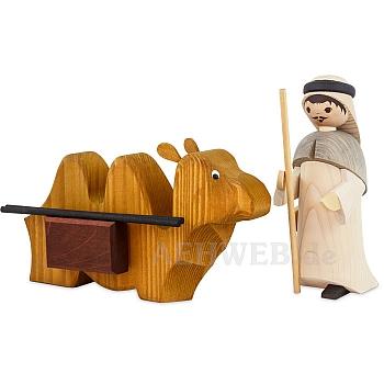 Kameltreiber mit liegendem Kamel 22 cm gebeizt