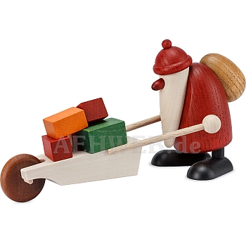 Weihnachtsmann mit Schubkarre und Geschenken 9 cm