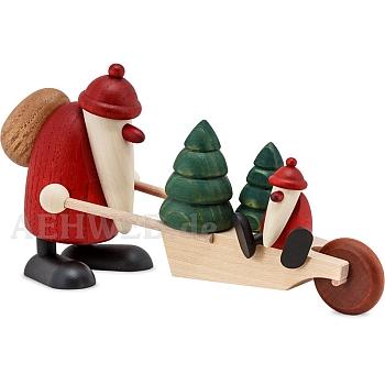 Weihnachtsmann mit Schubkarre Bäumen und Kind 9 cm