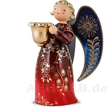 Engel reich bemalt groß mit Lichtnapf rot links schauend