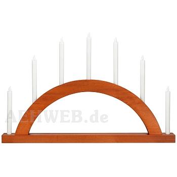 Schwibbogen Rundbogen nußbaum mit LED Kerzen