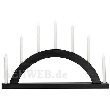 Schwibbogen Rundbogen schwarz mit LED Kerzen