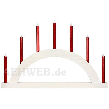 Schwibbogen Rundbogen weiß mit LED Kerzen