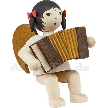 Schleifenengel mit Akkordeon sitzend • gebeizt