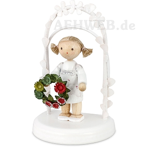 Geburtstagskind mit Blumenkranz grün - rot