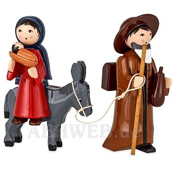 Maria und Josef auf Esel 7 cm lackiert