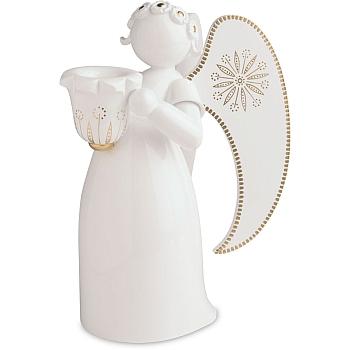 Engel weiß golden bemalt mit Lichtnapf links schauend