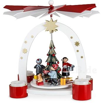 Bogenpyramide Teelicht mit Weihnachtsbaum und Geschenke Kinder lackiert limitiert