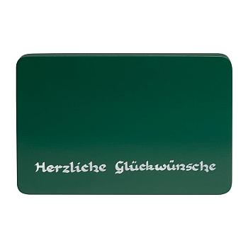 """Beschriftete Sockelplatte grün """"Herzliche Gückwünsche"""""""