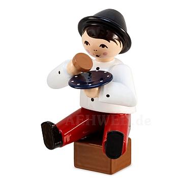 Kaffeekränzchen Winterkind Junge sitzend mit Teller rot von Ulmik
