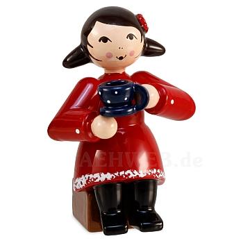 Kaffeekränzchen Winterkind Mädchen mit Kaffeetasse rot von Ulmik