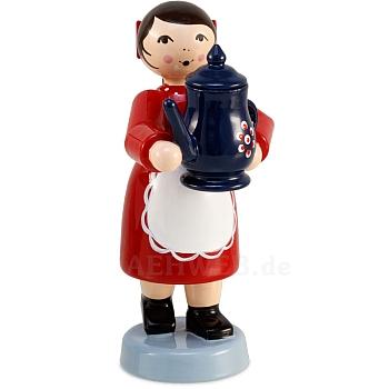 Kaffeekind Mädchen rot mit Kaffeekanne von Ulmik