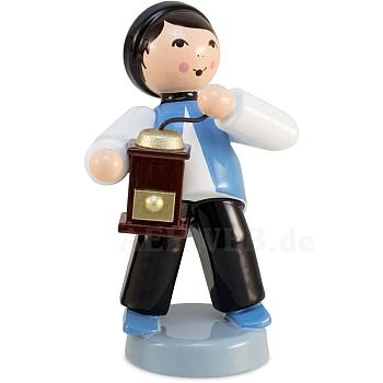 Kaffeekind Junge mit Kaffeemühle blau von Ulmik