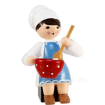 Plätzchenbäckerin blau mit Schüssel von Ulmik