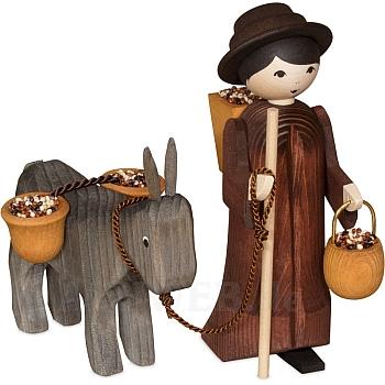 Eselkarawane Treiber mit Esel und Hucke 13 cm gebeizt