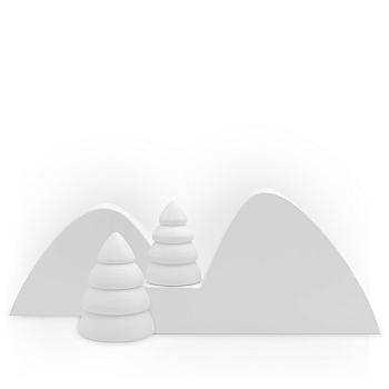 Winterlandschaft 1 mit zwei halben weißen Bäumen