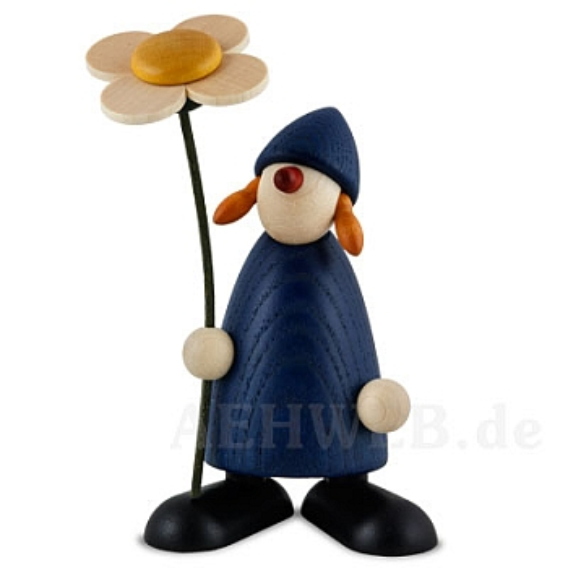 Gratulantin Susi mit Blume, stehend, blau
